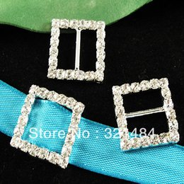 Wholesale Wedding Ribbon Buckles Sliders - Free ship! CRB004 22x15mm Rectangle Crystal Rhinestone Buckles Ribbon Sliders For Gift box bows Wedding Decoration