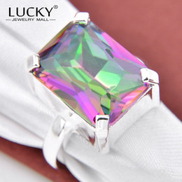 Wholesale Mystic Topaz Rings For Women - Wholesale-Free Shipping - Charm Jewelry 925 Silver Rainbow Mystic Topaz rings for women fashion party Bijoux R0111