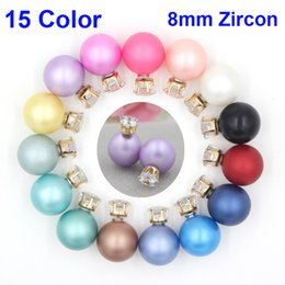Wholesale Cz Pearl - New Arrival 15 Colors Double Sided Matte Pearl 8mm CZ Zircon Studs 16mm Pearl Ball Earrings cc stud earrings for Bridal Earrings