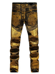 Wholesale Shiny Black Coats - NWT BP Men's Fashion Runway Shiny Golden Coated Oiled Stretch Slim Black Biker Washed Jeans Size 28-38 free shipping