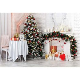 Wholesale Brick Wall Photography Backdrop - White Brick Wall Pink Curtain Photography Backdrops Vinyl Christmas Tree Red Gold Balls Stars Fireplace Love Theme Party Photo Background