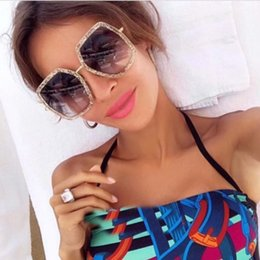 Wholesale Ladies Leg Sunglasses - Luxury Brand Designer 0106 Sunglasses Women Fashion Polygonal Frame Mixed Colour Sun Glasses Summer Retro For Ladies Honeybee Sign on Legs