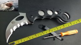 Wholesale Plastic Cnc - New CNC Serrated Claw Karambit AUS-8 Blade G10 Handle Folding Pocket Knife C01