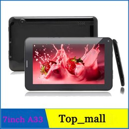 Wholesale 512m 2g - Tablet PC Allwinner A33 7 Inch Quad Core Unlocked Phablet Android 4.4 Bluetooth 4GB 512M Single SIM WIFI Dual Camera 2G Phone Call tablets