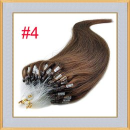 Wholesale Easy Ring Hair Extension - 100 Stand Easy Loop Silicone Micro Ring Beads Human Hair Extensions Indian Remy Straight Hair Black Blonde Brown Color 18 inch 20 inch