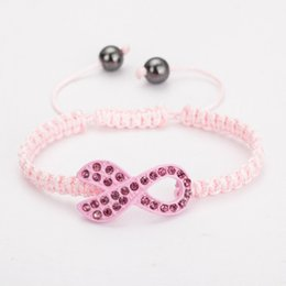 Wholesale Breast Cancer Rhinestone Connectors - Wholesale-Fashion Jewelry Pink Crystal Rhinestones Ribbon Breast Cancer Connector Beads Handmade Bracelet Multicolor Adjustable