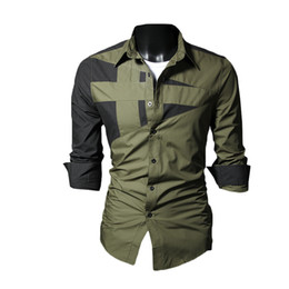 Wholesale Stylish Shirt Dresses - S5Q Multi-color Men Stylish Slim Casual Long Sleeve Lapel Luxury Fit Dress Shirt AAAEXM