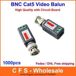 Wholesale Cat5 Transmitter - Coax Cat5 Camera CCTV BNC Video Balun Transceiver UTP Receiver Transmitter 1000pcs Fedex   DHL Free Shipping