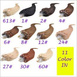 Wholesale Nano Ring Hair Extensions Indian - 8-30'' 1g s 11 Colors Natural Straight Micro Loop Ring Hair Extensions,Reusable Indian Remy Keratin Micro Nano Ring Hair Extension for Women