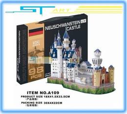 Wholesale Neuschwanstein 3d - Wholesale-24 pcs lot LINGLESI A109 3D puzzle paper craft Neuschwanstein Castle DIY 3D three-dimensional puzzle Building model low shipping