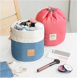 Wholesale Nylon Fabric Roll - On Sales Barrel Shaped Travel Cosmetic Bag Nylon High Capacity Drawstring Elegant Drum Wash Bags Makeup Organizer Storage Bag #71744