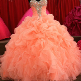 Wholesale Sweet Dress Evening - Quinceanera Dresses 2017 Floral Sweetheart Princess Sweet 16 Organza Pleated Sweet Coral Prom Dress Evening Ball Gowns
