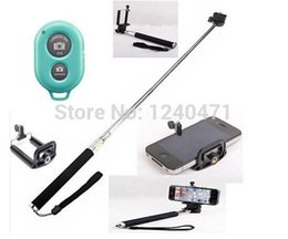 Wholesale Iphone Camera Remote Shutter - 3in1 Monopod+Clip Holder+wireless Bluetooth Camera Shutter Self-timer Remote Control Handheld Blister package for iPhone Samsung Android
