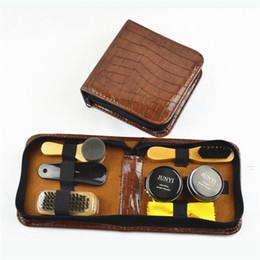 Wholesale Boot Shoe Brush - Shoe Shine Care Kit Black & Neutral Polish Brush Set for Boots Shoes Sneakers