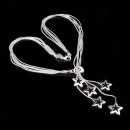Wholesale Star Necklaces For Women - Top Grade Silver Chains Stars Pendants Necklaces Hot Sale Fashion Snake Link Chain Necklace Pendant for Women Jewelry Wholesale 0010YDHX