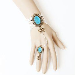 Wholesale Blue Bridal Jewellery Sets - 2015 Finger Ring Set Lace Bracelets Ring blue rose flower Wrist Cuffs Bangle Bridal Bridesmaid Fashion jewellery D475M