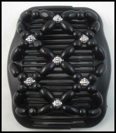 Wholesale Double Women Hair Clip Comb - Wholesale-Wooden wood Beads Double Magic Women Hair Clip   Comb Black #AF7