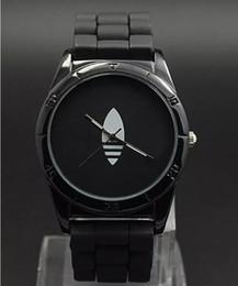 Wholesale Ladies Clover Watch Green - AD Clover 3 Leaf Grass Ladies Dress Quartz Watch, Female Males Sports Casual Wristwatch silicone Brand Clocks