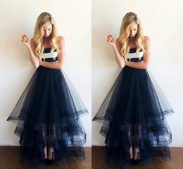 Wholesale Strapless Dress Puffy Skirt - 2016 Tulle A-Line Prom Dresses Strapless Zipper Backless Puffy Tiered Skirt Formal Gowns Floor-Length Black Evening Dresses New zahy681