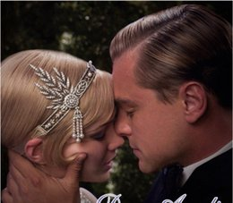 Wholesale Sequin Fascinator - The Great Gatsby DAISY Crystal Pearl Tassels Headband Bridal Tiaras Fashion Girls Hair Accessories Faux Pearl Flower Fascinator Jewelry