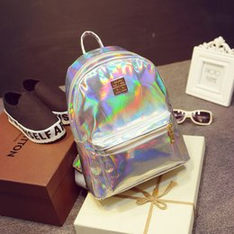 Wholesale Metallic Rainbow - New Hologram Laser Backpack Girl School Bag Shoulder Women Rainbow Colorful Metallic Silver Laser Holographic Backpack