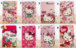 Portafoglio rosa dell'arco online-50pcs Hello Kitty Wallet Pink Princess Fip Stand Custodia in pelle per iPad mini 2 3 Bling Bow custodia per ipad mini123