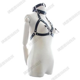 Wholesale Breast Restraints For Bondage - Nipple Clips Black Bondage Restraints Breast Bondage Faux Leather Sexy Bondage Costume Belt Fetish Bondage Sex Toys Adult Sex Toys for Women