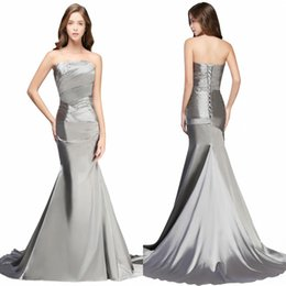 Wholesale Trumpet Mermaid Strapless Taffeta - Designed Silver Taffeta Bridesmaid Dresses 2018 Real Photos Strapless Mermaid Sexy Backless Long Prom Evening Gowns with Lace-Up Back CPS050