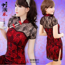 Wholesale Sexy Cheongsam Skirts - Sexy Lingerie Sexy uniforms suit tight skirt lace transparent slits cheongsam sleep 148