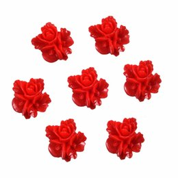 Wholesale Resin Flower Embellishments - Wholesale- 50 Red Resin Flower Embellishments Flatback Cabochon Scrapbook 16x16mm