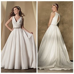 Wholesale Taffeta Wedding Gowns Online - Sexy Deep V-Neck Pleated A-Line Wedding Dresses Chapel Pleated Crystal Sash Bridal Gowns Open Back Simple 2016 Custom From China Top Online