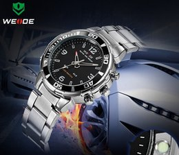 Wholesale Weide Wristwatches - WEIDE WH843 men's analog digital watch, dual display LED sports relogio waterproof swim wristwatch, led military watch, gift watch for men