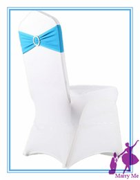 Wholesale Bow Stretch Ring - Wholesale-100pcs Stretch Chair Cover Bands Lycra Spandex With Diamond Ring Buckle Replace Chair Sash Bow Wedding Party Decoration