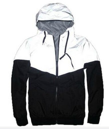 Wholesale Women Hooded Trench Coats - New Autumn spring 3M Hiphop Jacket Reflective Jacket Thin black Windbreaker Men women Trench Coat jacket