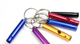 Wholesale Keychain Whistles - Mixed Mini Aluminum Emergency Survival Whistle With Keychain Rescue Whistles survival Fashion gift alloy Novelty gift