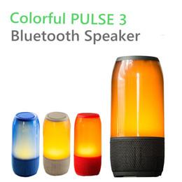 Wholesale Rainbow Speakers - PULSE 3 Colorful Bluetooth Speaker LED Rainbow Subwoofer Wireless Handfree Mic Stereo Portable HiFi Outdoor TF FM Radio Pulse3 Charge 3 2