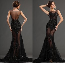 Wholesale Transparent Lace Evening Dress Sexy - Sexy 2017 Long Black Dresses Evening Wear from Eiffelbride Bateau Neck Shining Beaded Lace Applique Transparent Tulle Mermaid Prom Dresses
