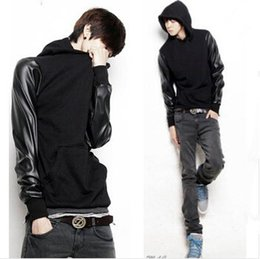 Wholesale Korean Hoodies For Men - Fashion Mens Autumn Winter Pullover Patchwork Leather Sleeve Hoodie For Men Leather Sleeve Sweatshirt Mens Korean Style Hoodies