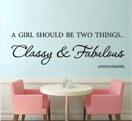 """Wholesale Classy Quote - """"A girl should be classy and fabulous"""" English famous quote emovable Vinyl wall decals quote sticker for girls room wall decor"""