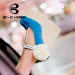 Wholesale Straw High Heeled Pumps - Wholesale-2015 Women Pumps Newest Wholesale Gladiator Ankle Straps Beaded Flower Shoes Summer High Heels Straw Wedge Shoes Platform Pumps