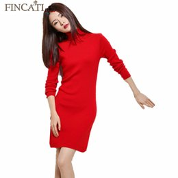 Wholesale Korean Cashmere Sweater Dress - Wholesale- 2017 Women's Autumn Winter Turtleneck Sexy Cashmere Blend Mini Dress Korean Style Solid Color Full Sleeve Dresses Sweater Pulls