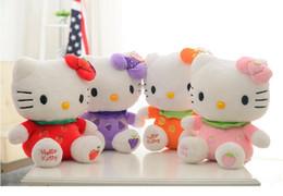 Wholesale Fruits Price - 1pcs Fruit Hello kitty Cat Plush Toys 4 Colors 18cm Price for Girl Toys