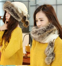 Wholesale Wool Scarves For Girls - Hot! 2015 New Winter Women Knitted Beanie Caps Fur Warm Fashion Skull Caps for Girls Flexible Scarf Mongolia Princess Hat 5 Colors
