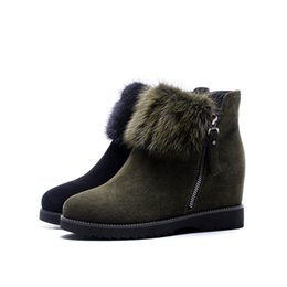 Wholesale Korean Boots Wedges - Ankle boots for women round toes wedge Japanese and Korean students comfortable plush retro pure color boots