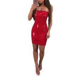 Wholesale Shiny Clubwear - Wholesale Factory New Red Strapless Sleeveless Shiny Punk Artificial Leather Zipper Back Women Clothing Spring Summer Dress Clubwear