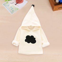 Wholesale White Winter Coats For Baby - Wholesale- Weixinbuy Baby Autumn Winter Sweatshirts for Boys  Girls with Cloud Pattern Pure White Hoodie Kids Causal Coats