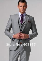 Wholesale Silver Bridegroom Suits - 2017 New Custom Made Slim Fit Groom Tuxedos Silver Side Slit Best Man Suit Wedding Groomsman Men's Suits Bridegroom