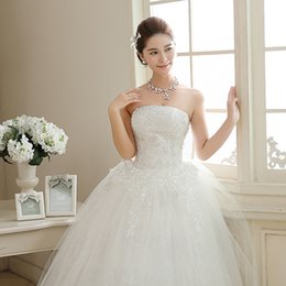 Wholesale korean ball gowns - Vestido Longo De Renda! 2015 Wedding Dress Hot Sale Sweetange Korean Style Sweet Romantic Lace Up Diamond Princess Ball Gown Free Shipping