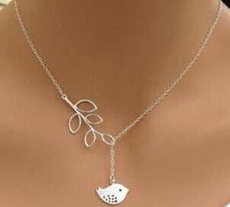 Wholesale Free Bird Necklace - Free shipping 925 silver necklace jewelry woman retro bird branches necklace collarbone chain simple fresh necklace pandant min 12pcs