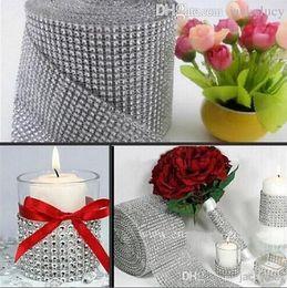 "Wholesale Sparkle Trim - 10yard roll 4.75"" 24 Rows Diamond Mesh Rhinestone Ribbon Crystal trim Wrap sparkle bling ribbon Wedding Decoration Party Decor"